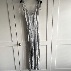 Attico silver gown with side slit pristine Sz 0